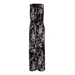 Yumi - Black Green Oriental Floral Print Jumpsuit