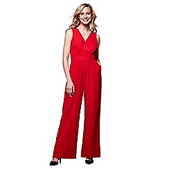 Yumi - Red wide leg v-neck jumpsuit