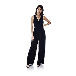 Yumi - Black Wide Leg V Neck Jumpsuit