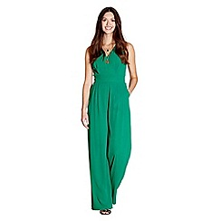 Yumi - Green plain v neck jumpsuit