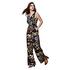 Yumi - Multicoloured tropical floral sleeveless jumpsuit