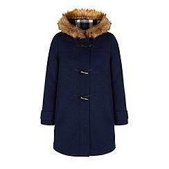 Yumi - Blue faux fur hood duffle coat