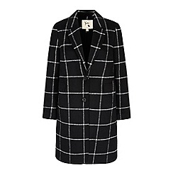 Yumi - Black check print tailored coat