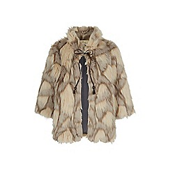 Yumi - Cream faux fur tie front coat