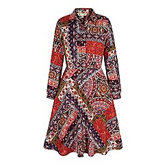 Yumi - Multicoloured patchwork print midi shirt dress