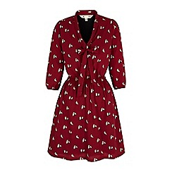 Yumi - Red owl print pussybow dress