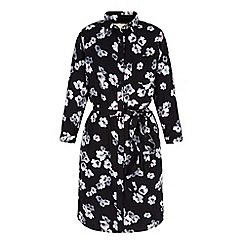 Yumi - Black floral print shirt dress