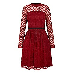Yumi - Red patchwork lace dress