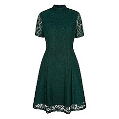 Yumi - Green floral print lace high neck dress