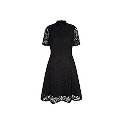 Yumi - Black floral print lace high neck dress