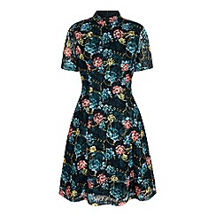 Yumi - Multicoloured floral print lace high neck dress