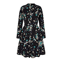 Yumi - Black floral and bird print high neck dress