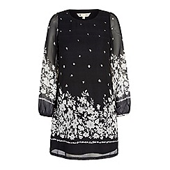 Yumi - Black monochrome floral print tunic dress