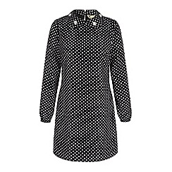 Yumi - Black embellished polka dot tunic dress