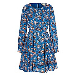 Yumi - Blue pansy print tunic dress