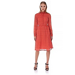 Yumi - Red Yumi by Lilah Embroidered Midi Shirt Dress