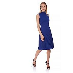 Yumi - Blue Pleated High Neck Midi Dress