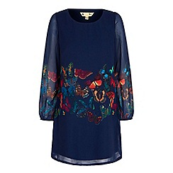 Yumi - Blue butterfly print tunic dress