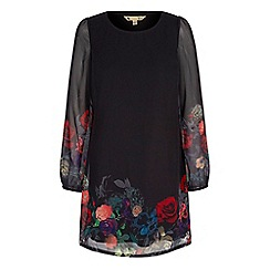 Yumi - Black rose print tunic dress