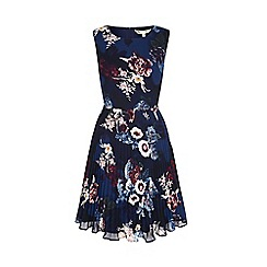 Yumi - Blue vintage floral print pleated dress