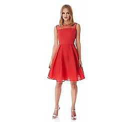 Yumi - Red Embroidered Circle Skater Dress