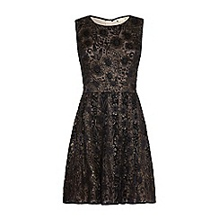 Yumi - Black embroidered floral occasion dress
