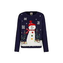 Yumi - Blue festive snowman jumper
