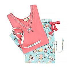 Yumi - Pink owl print pyjama set