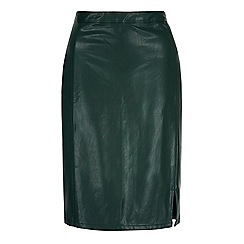 Yumi - Green leather look pencil skirt