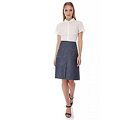Yumi - Blue Denim A-Line Midi Skirt