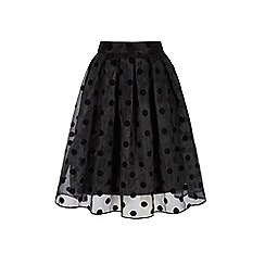 Yumi - Black polka dot midi skirt