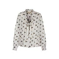 Yumi - White owl print pussybow blouse