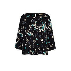 Yumi - Black bird and floral print shell top