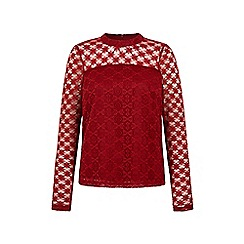 Yumi - Red patchwork lace top