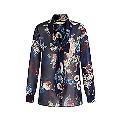 Yumi - Blue floral print pussybow blouse