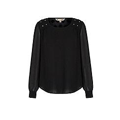 Yumi - Black embellished shoulder tunic top