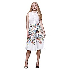 Yumi - Ivory floral jacquard flared skirt