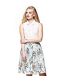 Yumi - Blue tropical floral map print skirt