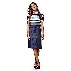 Yumi - Blue chambray button through skirt