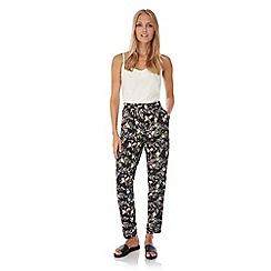 Yumi - Black bird print trousers