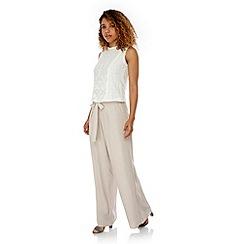 Yumi - Cream Palazzo Trousers