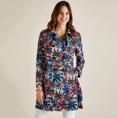 Yumi Multicoloured Floral Print Trench Coat