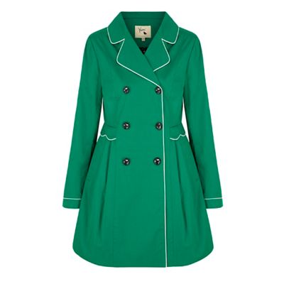 Yumi Green Trench Coat With Scallop Detail