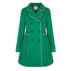 Yumi - Green trench coat with scallop detail