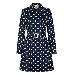 Yumi - Blue Polka Dot Print Trench Coat
