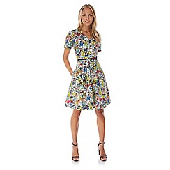 Yumi - Multicoloured  Village Print Skater Dress