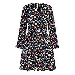 Yumi - Black scribble floral print skater dress