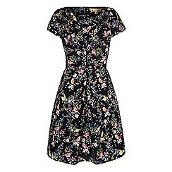 Yumi - Black bird print gathered tea dress