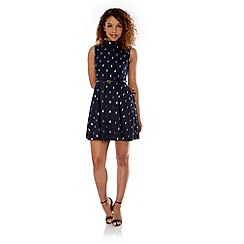 Yumi - Blue Cactus Foil Print Dress