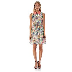 Yumi - Multicoloured  Tropical Parrot Print Shirt Dress